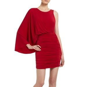 BCBGMAXAZRIA Red Venus Draped Dress